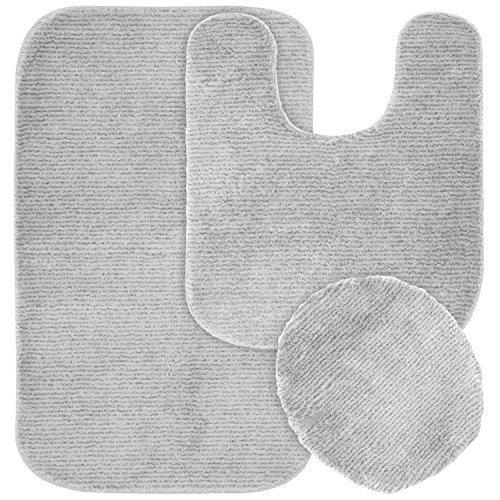 Garland Rug 3-Piece Glamor Nylon Washable Bathroom Rug Set, Platinum Gray by Garland Sales, Inc. - DROPSHIP