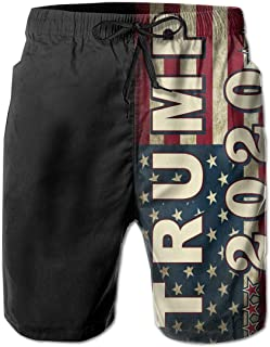 Trump 2020 Fuck Your Feeling Men Summer Casual Swimming Shorts Quick Dry Swimming Shorts with Pockets