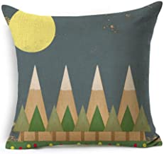 Colorful Abstract Geometric Composition Triangle Cartoon Pine Forest Sun And Moon Cotton Linen Decorative Throw Pillow Case Cushion Cover Square 18