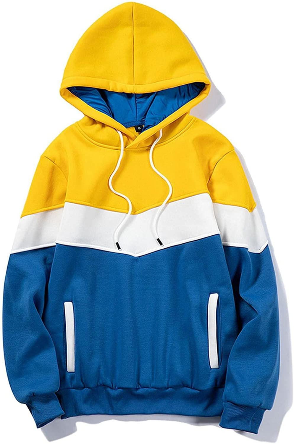 Hoodies for Men Pullover Warm Quick Dry Color Block Patchwork Sport Mens Hoodies Front Pockets Slim T-Shirts