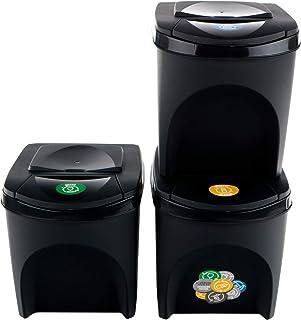 Prosperplast Lot de 3 bacs de recyclage capacité totale 60 litres, empilables, compartiments de couleur anthracite, 3 x 25...
