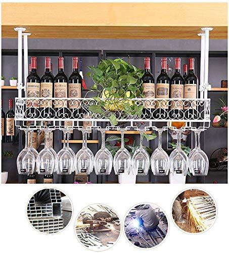 Colgando estante del vino, vino estante de la taza bastidor y el vino taza Baca estante de hierro al revés mueble vaso decorativo estante cocina de un restaurante de barra de bar,80cm/31.49in-White