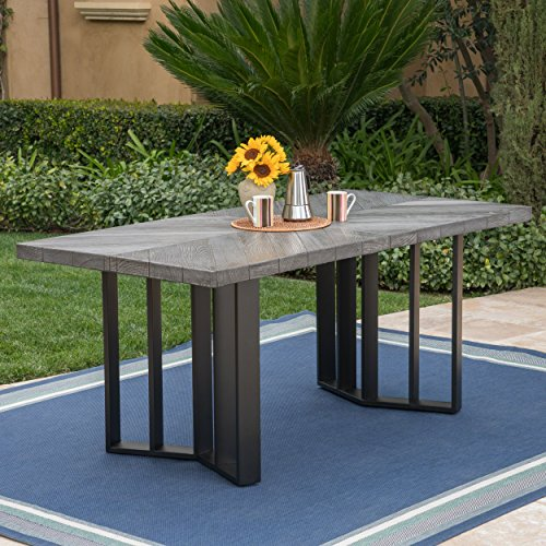 Christopher Knight Home 304102 Verona Andre Outdoor Finish Light Weight Concrete Dining Table, Textured Grey Oak/Black