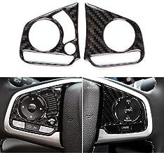 1797 Compatible Steering Wheel Buttons Decals for Honda Accessories Parts Civic EX EX-L EX-T Si Touring FWD 2017 2018 2019 Carbon Fiber Sticker Caps Covers Interior Decorations Trim Women Men Black