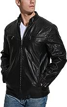 Fahsyee Men's Faux Leather Jackets, Zip Up Moto Biker Coat Windproof Warmth Motorcycle Outerwear Black