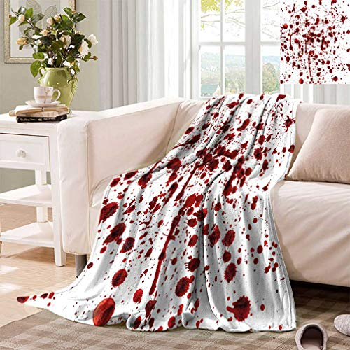 Cozydaily Grunge Decor Print Blankets, Bloody Splashes of Blood Grunge Style Bloodstain Horror Scary Zombie Halloween Print Super Soft Minisize Fleece Blankets for Sofa, 50'x30' Red White