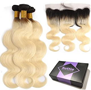 Suttie 1B 613 Blonde with Dark Roots Body Wave Real Hair Ombre Bundles Pre Plucked Frontal Lace Human Hair with Baby Hair B6J16182014C