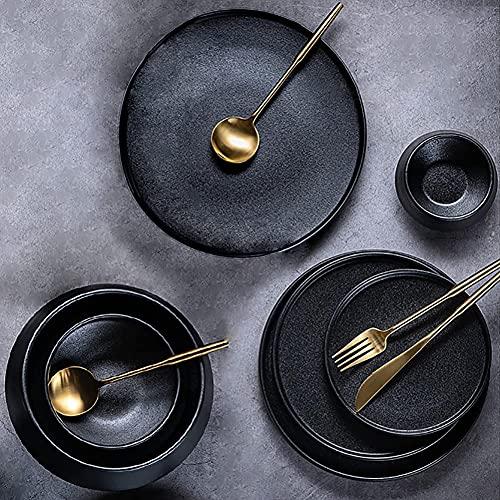 HGJINFANF Conjunto de vajillas de cerámica, 26 PCS Mate Negro Esmalte de gres, Placas de vajilla de cerámica áspera/tazones/Tazas Servicio for 6