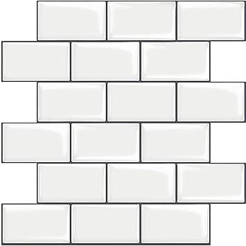 Stickgoo 10 Sheet White Subway Tiles Self Adhesive Kitchen Splashbacks Peel And Stick Wall Tile Stickers Stick On Tiles Splashback Thicker Design Amazon Co Uk Diy Tools