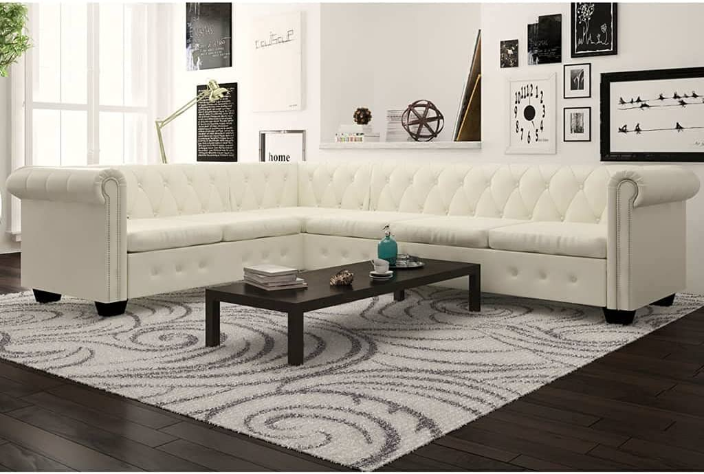 NusGear Chesterfield Corner Louisville-Jefferson County Mall Sofa 6-Seater Time sale White Leather -91 Faux