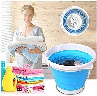 FFLLAS Lavadora portátil, Lavadora de Mini bañera Plegable, Lavadora de turbinas ultrasónicas giratorias USB Alimentado po...