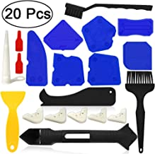 Caulking Tool Kits,Angela&Alex 20 PCS Caulk Remover Silicone Grout Scraper Sealant Finishing Tool Nozzle Caulk Caps Replaceable Pads Black Yellow Cleaning Brushes for Bathroom Kitchen