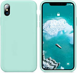 KUMEEK iPhone X/Xs Case, Soft Silicone Gel Rubber Bumper Case Anti-Scratch Microfiber Lining Hard Shell Shockproof Full-Body Protective Case Cover for Apple iPhone X/iPhone Xs- Sea Green