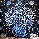 PPOU Mandala Decorativo Elefante Tapiz de Pared de Encaje Bohemio Manta de Pared Tela decoración del hogar Cortina Yoga Mat Fondo Pared A6 150x200cm