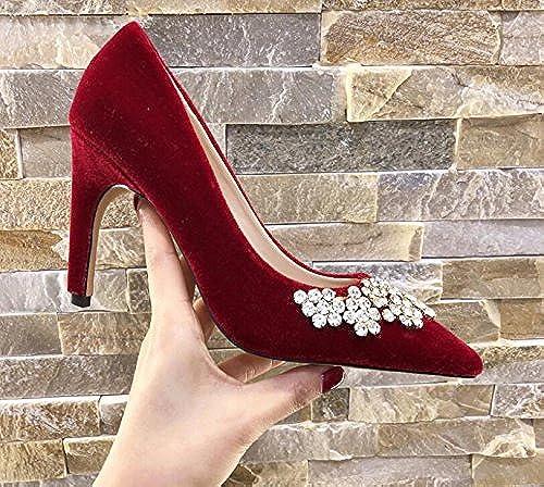Xue Qiqi Court Schuhe Rote Brautschuhe des Rhinestonehochzeitsschuhs Weißliche Einzelne Beschuht Weißliche Prinzessin Spitzes Hohe Fersen Weißliches Geldstrafe mit