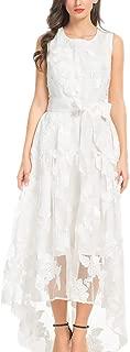 PERSUN Women's High Low Floral Lace Sleeveless Formal Swing Wedding Dress