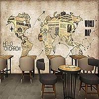 カスタム任意のサイズの壁画壁紙レトロな世界Mapspaperバーコーヒーショップレストランの背景壁カバー3D, 350cm×245cm