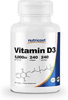 Nutricost Vitamin D3 5,000 IU, 240 Softgels - Non-GMO and Gluten Free Vitamin D