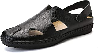 Xiang Ye Summer Sandals for Men Loafers Slip-on Outdoor Casual Breathable Stitching Genuine Leadther Anti-Skid Flat Close Toe Cutout Cap Toe (Color : Black, Size : 9 UK)