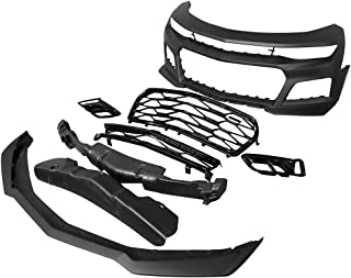Front Bumper Compatible With 2016-2018 Chevrolet Camaro   ZL1 Style Black PP Cover Conversion Lip Grille Grill Bodykit Replacement by IKON MOTORSPORTS   2017