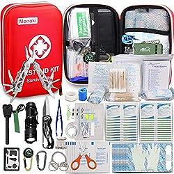 Monoki First Aid Kit Survival Kit, 241Pcs Upgraded Outdoor Emergency...