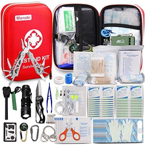 Monoki First Aid Kit Survival Kit, 241Pcs Upgraded Outdoor Emergency Survival Kit Gear - Medical Supplies Trauma Bag… 3