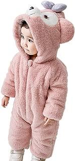 Jomissクリスマス キッズコスチューム ベビー服着ぐるみキッズ用 動物出産祝い カバーオール もこもこ 防寒着 赤ちゃん (ピンク, 73)