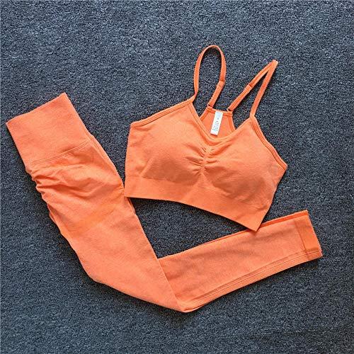 Pantalon Leggings Mujer 2Pcs / Set Vital Women Sport Suit Yoga Set Gym Workout Ropa Manga Larga Fitness Crop Top + Cintura Alta Energy Seamless Leggings-Cb347_Orge_Bra_Set_M