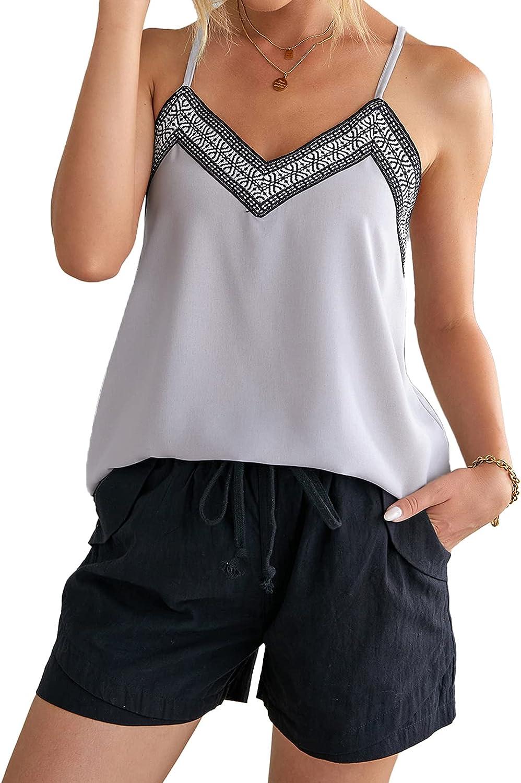 Asvivid Womens Adjustable Spaghetti Strap Racerback Summer Tank Tops Embroidered V Neck Sleeveless Shirt Blouses