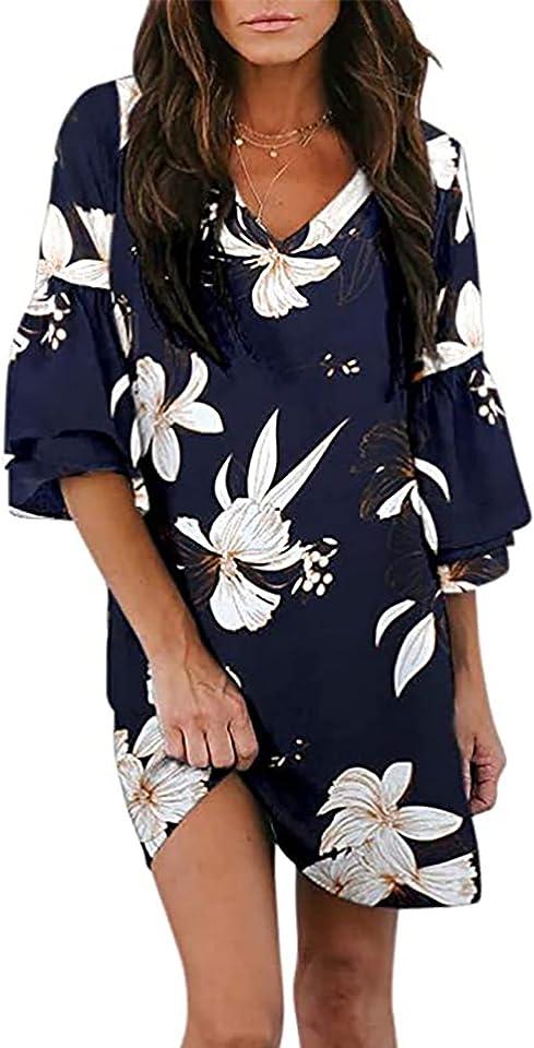 WUHOVILA Summer Tunic Dress for Women V Neck Casual Loose Flowy Dresses Bell Sleeve Shift Dress Mini Dress