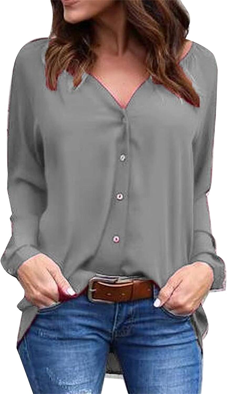 YMING Women's Chiffon Blouse Button Down Casual Shirt V Neck Long Sleeve Business Top