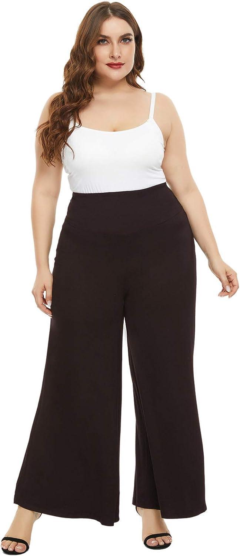 Hanna Nikole Women Plus Size Comfy Stretchy Wide Leg Palazzo Lounge Pants