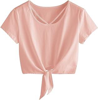SweatyRocks Women's Loose Short Sleeve Summer Crop T-Shirt Tops Blouse