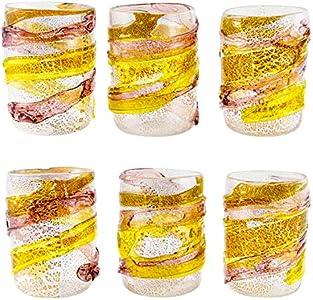 6 vasos de cristal de Murano auténtico, con hoja de plata, para uso real