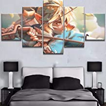 XIAOAGIAO 5 Canvas Painting HD Printed Pictures Home Wall Artwork Modular Poster 5 Panel Zelda Paintings On Cartoon Canvas Living Room Decorative Framed Paintings on Canvas