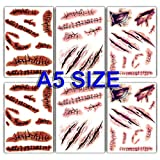 Large Size Halloween Temporary Tattoos Fake Wound...