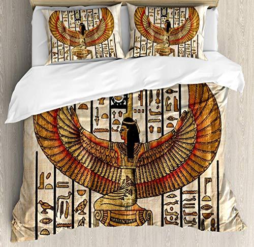 Juego de Funda de Colcha egipcia, Fondo de Textura de pergamino Egipcio, Arte Decorativo Antiguo Oriental, Juego de Ropa de Cama Decorativa con 3 Bluffs, Beige bermellón, Negro
