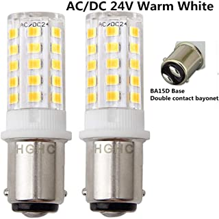 LED Ba15d 5W Light Bulb 24V AC/DC Warm White 3000K - Double Contact Bayonet Parallel Pin Base 1076 1130 1176 1142 LED 35W RV Replacement Bulb, for Car RV Camper Lighting(Pack of 2)
