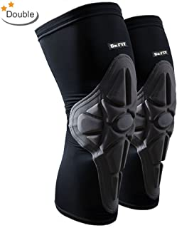 Knee Brace Sleeve - Leg Support Compression Pads for Impact Protection and Performance Sport Training | Great for Tendonitis, Stiff and Sore Muscles and Joints [DR. FIT]