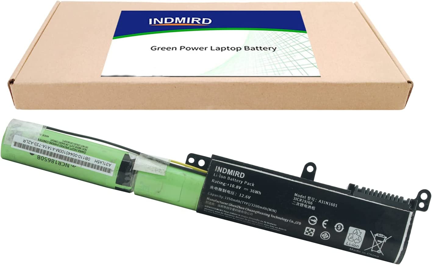 Indmird A31N1601 Memphis Mall Laptop Battery for Large-scale sale X541 ASUS X541S Vivobook X54