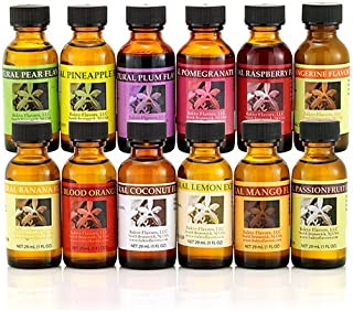 Bakto Flavors Fruit Frenzy Collection - VERSION 2 - 12 (1 OZ) Bottles - Pear, Pineapple, Plum, Pomegranate, Raspberry, Tan...