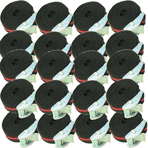 Timtina 12 Befestigungsriemen-Set Spanngurt, Schnellspanner, Zurrgurt,Klemschoss Gurt ideal zur Befestigung am Fahrradträger (12) (12 Stück ´je 2,5m schwarz rot 100 kg)