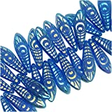 Czech Glass, Dagger Beads with Laser Etched Peacock Eye Design 5x16mm, 25 Pieces, Indigo