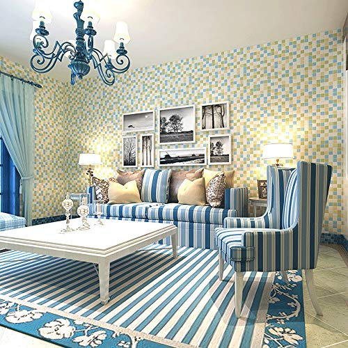 SAOXDAN Wand & Kunst Tapete Mosaic 3D Checkered Living Room Vliestapete Schlafzimmer Stereo TV Hintergrund Wand Mediterrane Restaurant Tapete (Color : A)