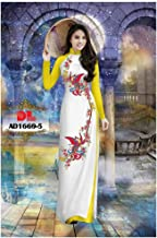 Ao Dai - Traditional Vietnamese Long Dress Collections with Pants - Silk Print 3D ADVNL872