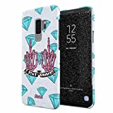 Glitbit Compatible with Samsung Galaxy S9 Plus Case Stay Creepy Stay Weird Diamond Patches Emo Goth Punk Kawaii Grunge Middle Finger Bitch Thin Design Durable Hard Shell Plastic Protective Case Cover