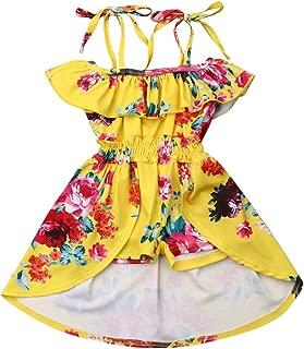 Infant Baby Girls Halter Dress Toddler Hawaiian Summer Dress Ruffle Short Skirt Floral Princess Sundress for Kids