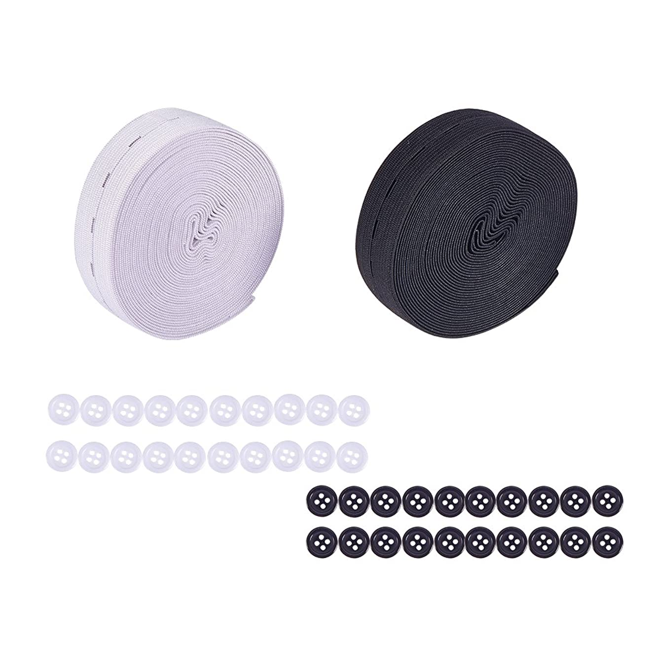 NBEADS 2 Rolls 25mm (5.5 Yard/roll) Flat Rubber Elastic Band with 40 pcs Resin Buttons, Springy Stretch Knitting Sewing Elastic Spool Elastic Bands, Black and White