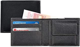 Coin Pocket Genuine Leather Wallet Men I Slim Durable Spacious Bifold Purse Wallet Card Holder I Classic Black Collection ...