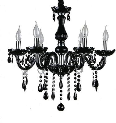 Stile europeo di cristallo nero lampadario moderno e minimalista soggiorno camera da letto lampadario creativo ristorante KTV Internet cafe candela lampadario,-5 singola luce di invio, con paralume